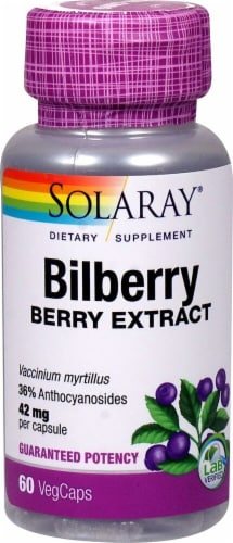 Solaray Bilberry Berry Extract Vegetarian Capsules 42mg Perspective: front