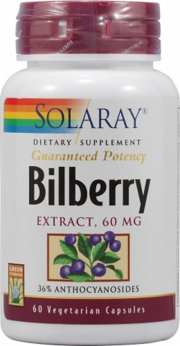 Solaray Bilberry Extract Capsules 60mg Perspective: front