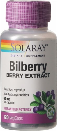 Solaray Bilberry Extract Vegetarian Capsules 60mg Perspective: front