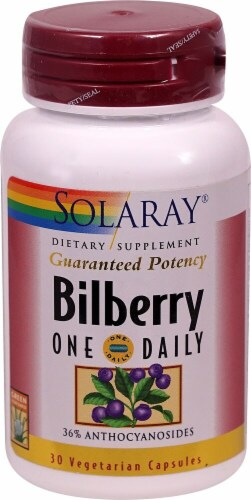 Solaray One Daily Bilberry Vegetarian Capsules Perspective: front