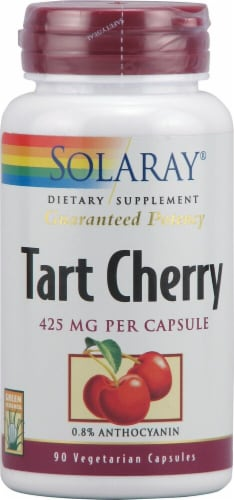 Solaray Tart Cherry Fruit Extract Vegetarian Capsules 425mg Perspective: front