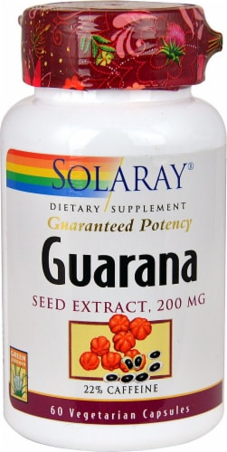 Solaray Guarana Seed Extract Capsules 200mg Perspective: front