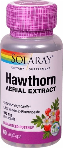 Solaray Hawthorn Aerial Extract Veg Caps 100 mg Perspective: front