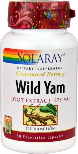 Solaray Wild Yam Root Extract Vegetarian Capsules 275mg Perspective: front
