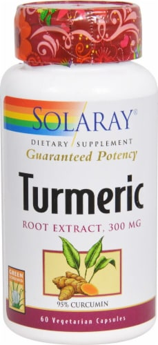 Solaray Turmeric Root Extract Vegetarian Capsules 300mg Perspective: front