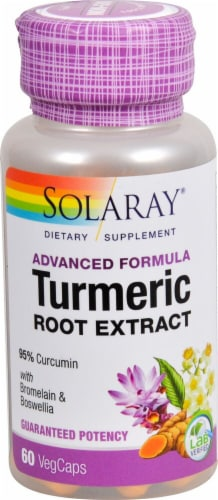 Solaray Advanced Formula Turmeric Root Extract Veg Caps Perspective: front