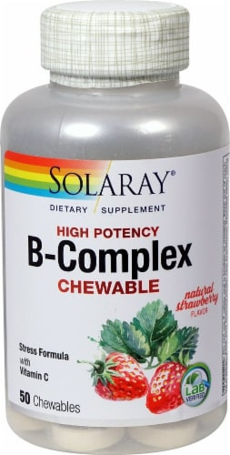 Solaray  B-Complex Chewable   Natural Strawberry Perspective: front