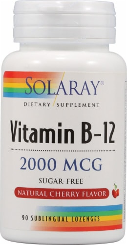 Solaray Vitamin B-12 Cherry Flavor Lozenges Perspective: front
