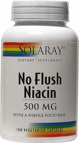 Solaray No Flush Niacin Vegetarian Capsules 500mg Perspective: front