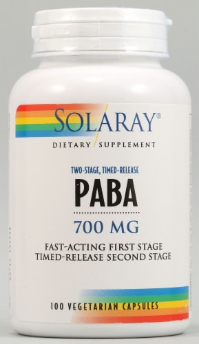 Solaray PABA Two-Stage Timed-Release Capsules 700mg Perspective: front