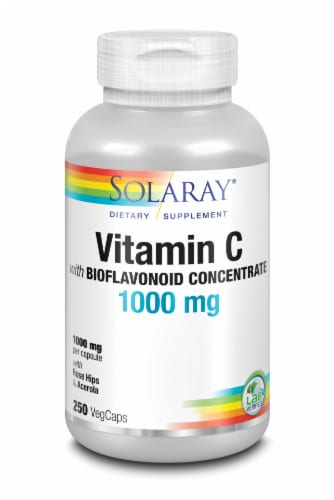 Solaray Vitamin C with Bioflavonoid Concentrate VegCaps 1000 mg Perspective: front