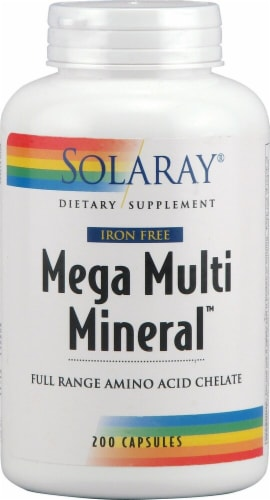 Solaray  Mega Multi Mineral™ Iron Free Perspective: front