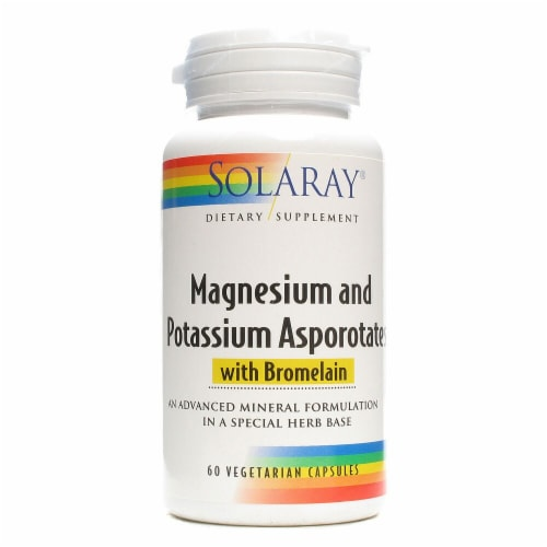 Solaray  Magnesium and Potassium Asporotates™ with Bromelain Perspective: front