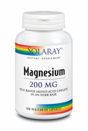 Solaray Magnesium Vegetarian Capsules 200 mg Perspective: front