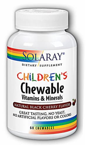 Solaray Children's Natural Black Cherry Vitamin and Mineral Chewables 60 Count Perspective: front