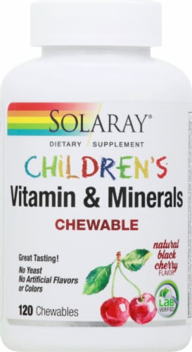 Solaray Children's Natural Black Cherry Vitamin & Mineral Chewables 120 Count Perspective: front