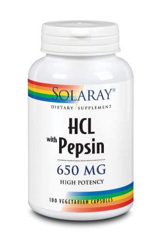 Solaray HCL with Pepsin Vegetarian Capsules 650 mg Perspective: front