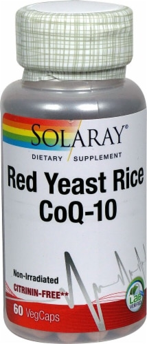 Solaray Red Yeast Rice Plus CoQ-10 Veg Caps Perspective: front