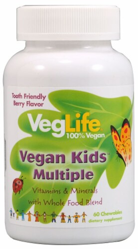 VegLife Vegan Kids Multiple Berry Chewables 60 Count Perspective: front