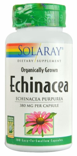 Solaray Organic Echinacea Capsules 380mg Perspective: front