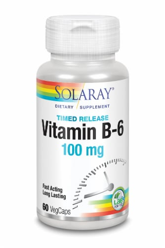 Solaray Vitamin B-6 Timed Release VegCaps 100 mg Perspective: front