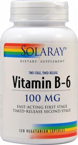 Solaray Vitamin B-6 Vegetarian Capsules 100 mg Perspective: front
