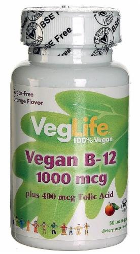 VegLife  Vegan B12 plus Folic Acid   Orange Perspective: front