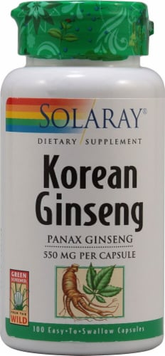 Solaray Korean Ginseng Root Capsules 550 mg Perspective: front