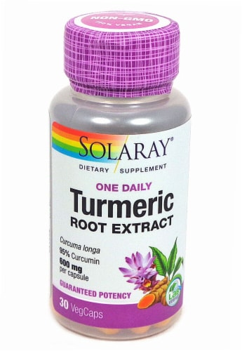 Solaray One Daily Turmeric Root Extract Veg Caps 600 mg Perspective: front