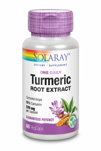 Solaray One Daily Turmeric Root Extract Veggie Capsules 570mg Perspective: front