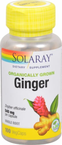 Solaray Organically Grown Ginger Veg Caps 540 mg Perspective: front
