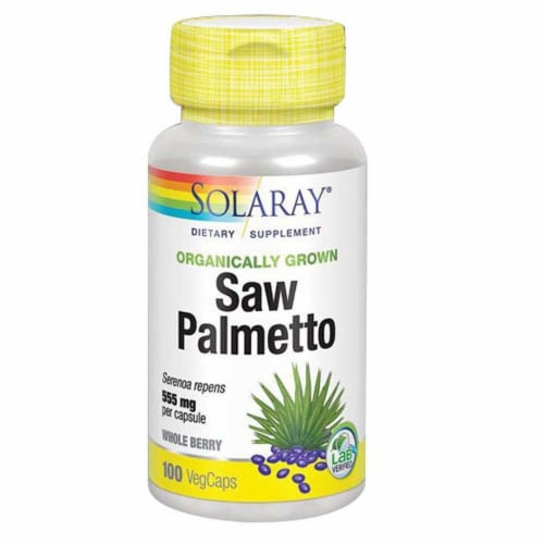 Solaray Organically Grown Saw Palmetto Veg Caps 555 mg Perspective: front