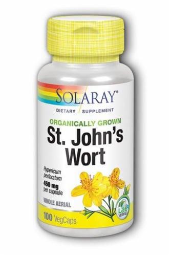 Solaray Organically Grown St John's Wort Veg Caps 450 mg Perspective: front