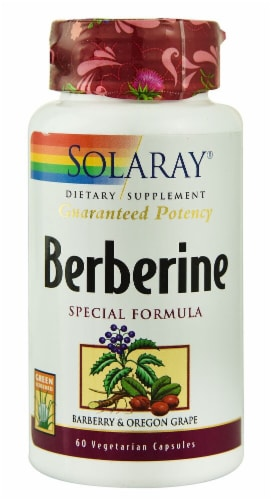 Solaray Berberine Root Extract Vegetarian Capsules Perspective: front