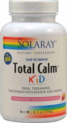 Solaray Total Calm Kid Strawberry Lemonade Sugar Free Drink Mix Perspective: front