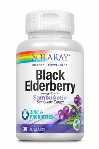 Solaray Black Elderberry Extract with Zinc & Probiotics Supplement Perspective: front