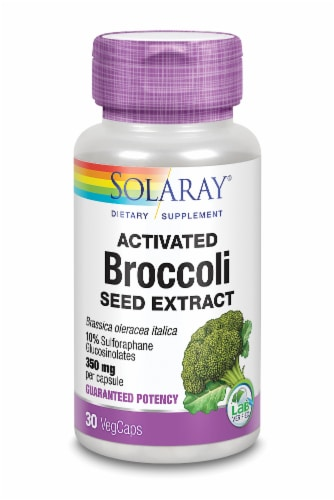Solaray Activated Broccoli Seed Extract VegCaps 350mg Perspective: front