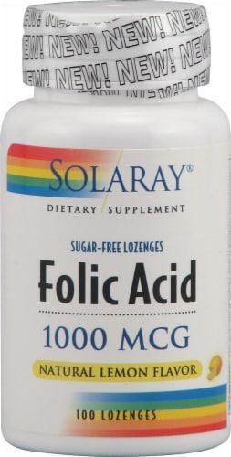 Solaray Folic Acid Natural Lemon Flavor Lozenges 1000 mcg Perspective: front