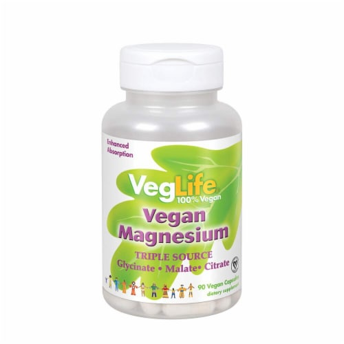 VegLife Vegan Magnesium Dietary Supplement Capsules Perspective: front