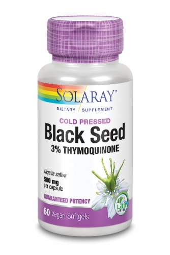 Solaray Cold Pressed Black Seed Vegan Softgels 500mg Perspective: front