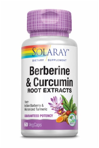 Solaray Berberine & Curcumin Root Extracts VegCaps Perspective: front