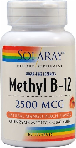Solaray Methyl B-12 Sugar Free Mango Peach Flavor Lozenges 2500mcg 60 Count Perspective: front