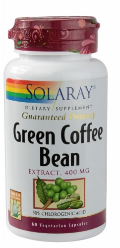 Solaray Green Coffee Bean Extract Capsules 400mg Perspective: front