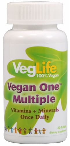 VegLife Vegan One Multiple with Iron Tablets Perspective: front
