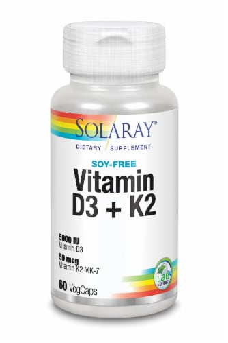 Solaray Vitamin D3+K2 Soy-Free VegCaps 5000 IU Perspective: front