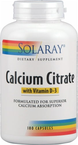 Solaray  Calcium Citrate with Vitamin D-3 Perspective: front