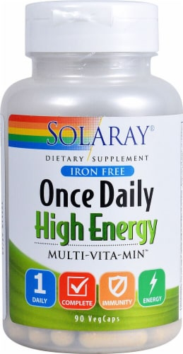 Solaray  Once Daily High Energy Multi-Vita-Min Iron Free Perspective: front
