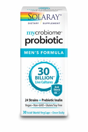 Solaray Mycrobiome Probiotic Men's Formula VegCaps Perspective: front