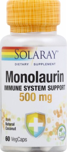 Solaray Monolaurin Immune System Support Capsules 500mg 60 Count Perspective: front