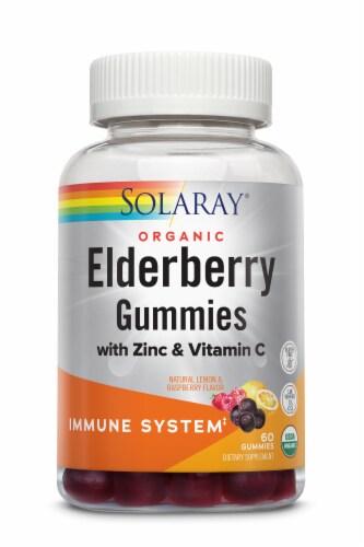 Solaray Elderberry Lemon & Raspberry Flavor Gummies Perspective: front